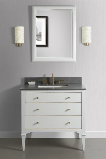 Moluf's - Fairmont Vanity - White with Brass